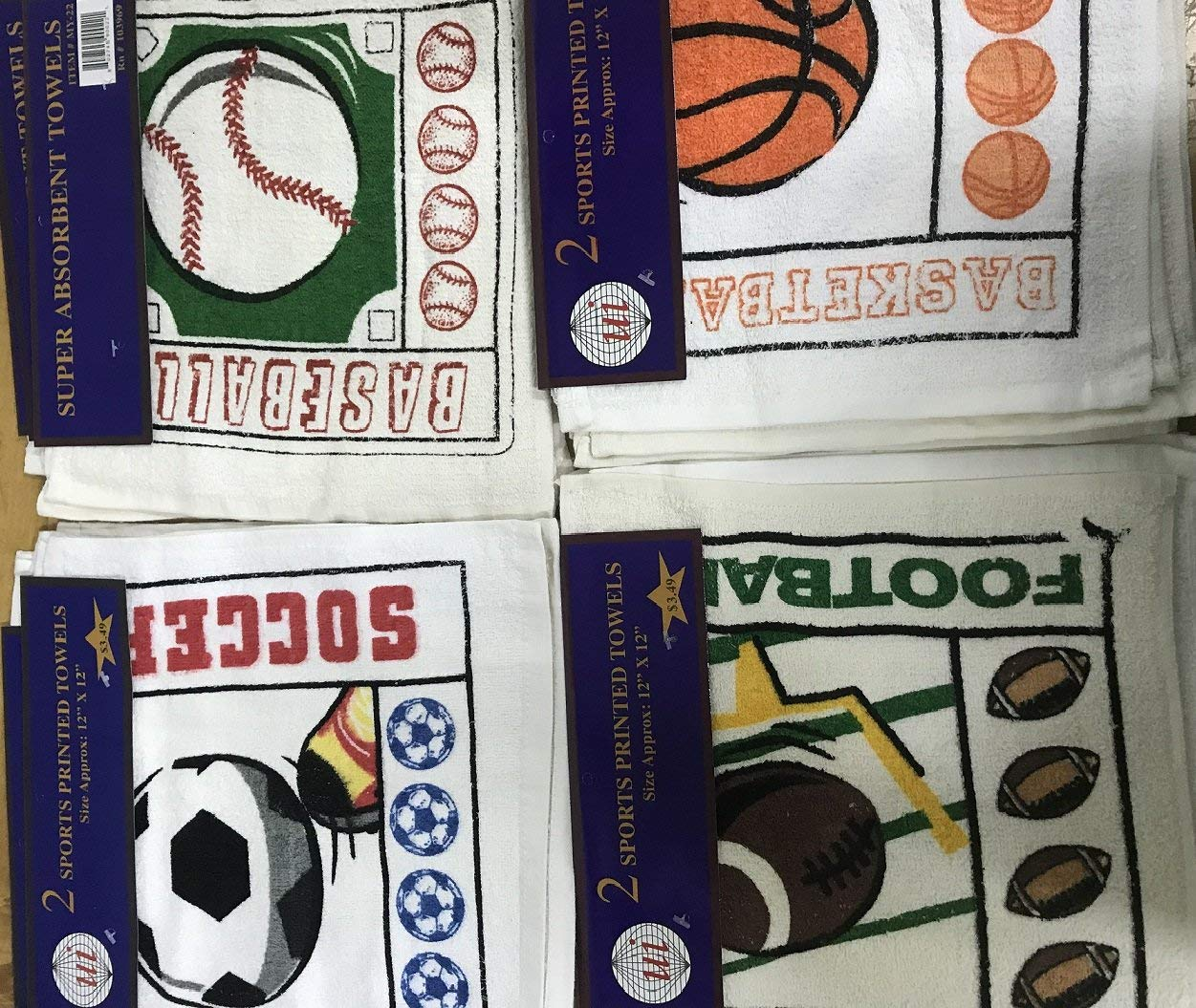 Bargain Priced Surplus Sports Washcloths, Rags, Wipers, Shop Towels with Soccer, Baseball, Basketball & Football Prints, Bulk, Eco-Friendly 100% Cotton, Size 12x12 Inch, Case of 480 Pieces