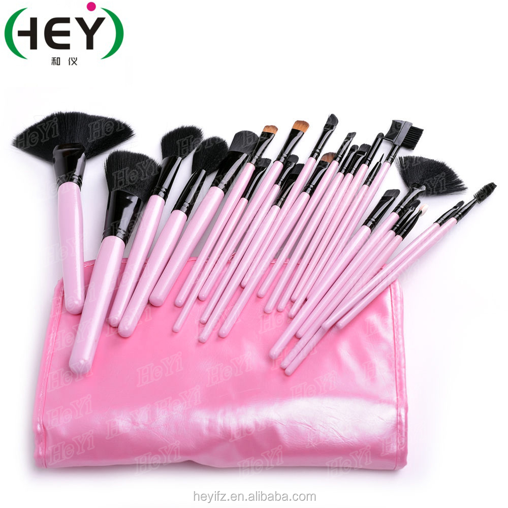 Synthetic Hair Pink 24PC Professional Makeup Brush Set With Pouch