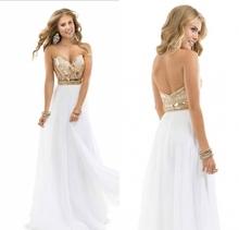 a3f493e5ff2b Hot sale summer beach Sweetheart Beading Chiffon Beaded Custom Desgin White  Rose Gold Sparkle Dress Party