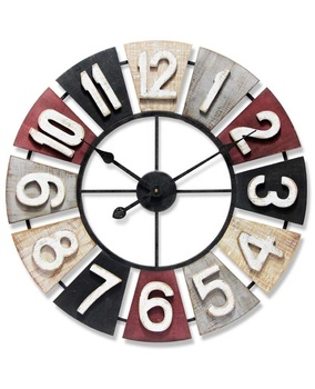 Wholesale 16 inch non-ticking retro vintage large wooden metal frame 3D Multi-color rustic crafts wall clock for home decoration