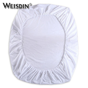 Bulk wholesale cheap plain white 300TC cotton hotel queen size bed sheets set elastic fitted sheet
