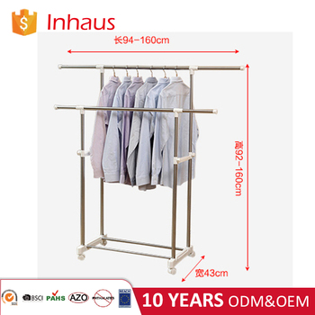 single rod metal adjustable garment rack straight clothes drying racks with wheels