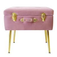 eautify Pearlized Pink Velvet Foot StoolStorage Stool Trunk Organizer - Ottoman Storage Footstool Pouffe with Rose Gold Clasp an