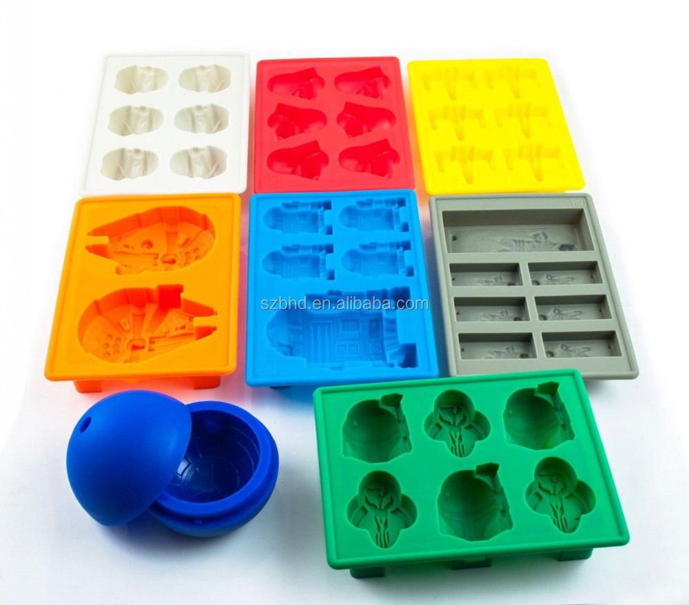 Complete Set of 8 Silicone Ice Cube Tray Jelly Chocolate Molds