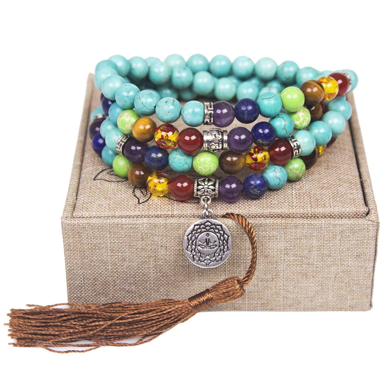 Aroncent 2 PCS Mala Beads Chakra Buddhist Prayer Buddha Bracelet 8mm Glass Beads 9 Inch