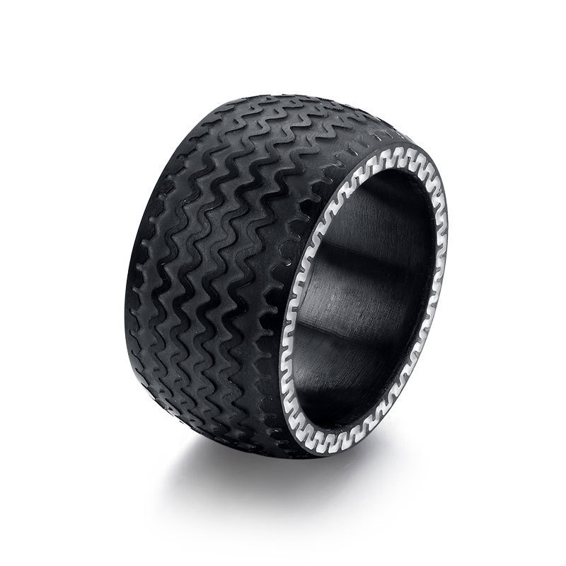Get Quotations Cool Men Rings Stainless Steel For Jewelry High Quality Tire Design Black Color Wedding