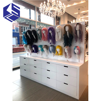 Fashion wig shop display furniture design wooden wig display stand for sale