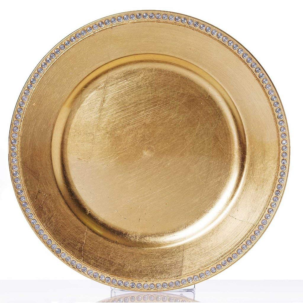 "Tableclothsfactory 13"" Round Gold Crystal Beaded Acrylic Charger Plates Wedding Party Dinner Servers - Set of 24"