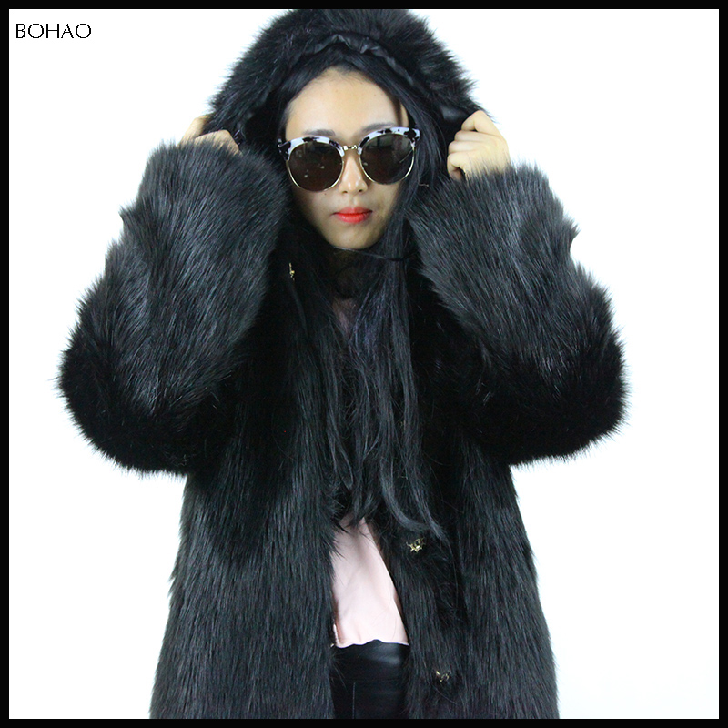 Cold protection winter style handsome ladies black faux fur hood coat