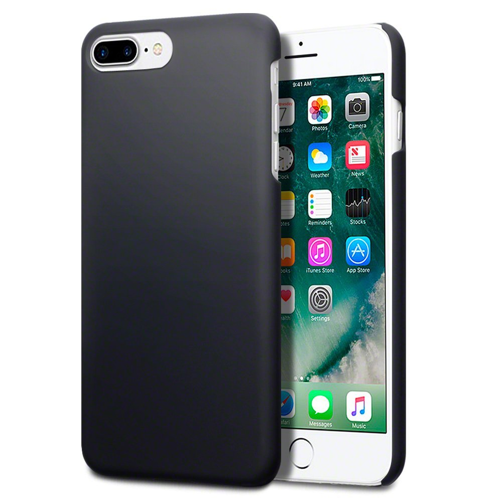 iPhone 7 Plus Case - Terrapin iPhone 7 Plus Cover - Ultra Slim Fit Hybrid - Hard Case Protection - Rubberized Finish - Black