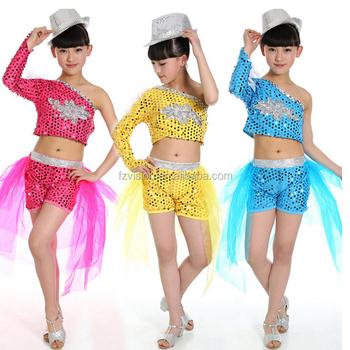 7c39a056453b2 Lentejuelas morden ropa para niños niñas Hip hop Jazz Ropa de baile ropa de  danza de