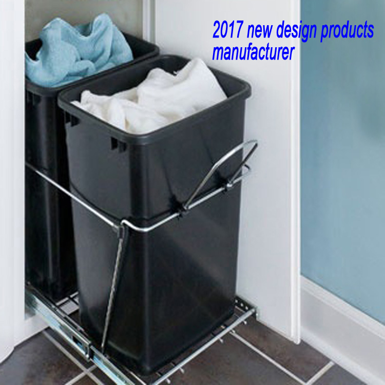 35 lb. pull out dust bin built in kitchen cabinet waste bin with lid