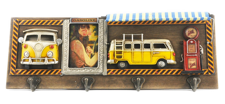 European Photo Frame 3D Vintage Wall Hanging For Home Decor Hooks With Gas Pump Bus Model