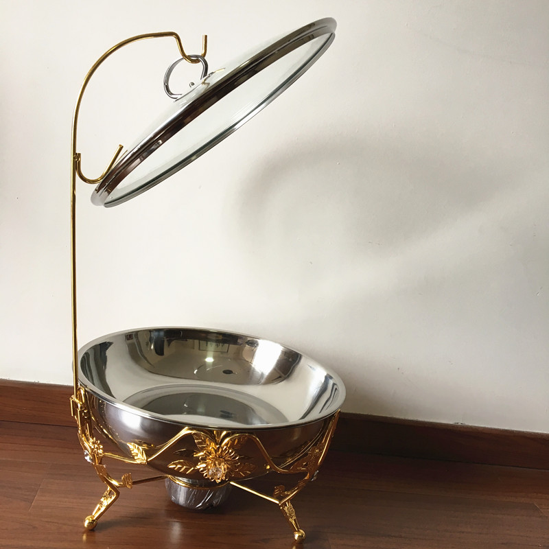 Luxury party supplies luxury gold plated hanging chafing dish, round roll top dish chafing with handle