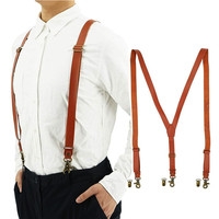 Custom Adjustable Y-shaped Mens Leather Suspenders with Metal Hook Clips