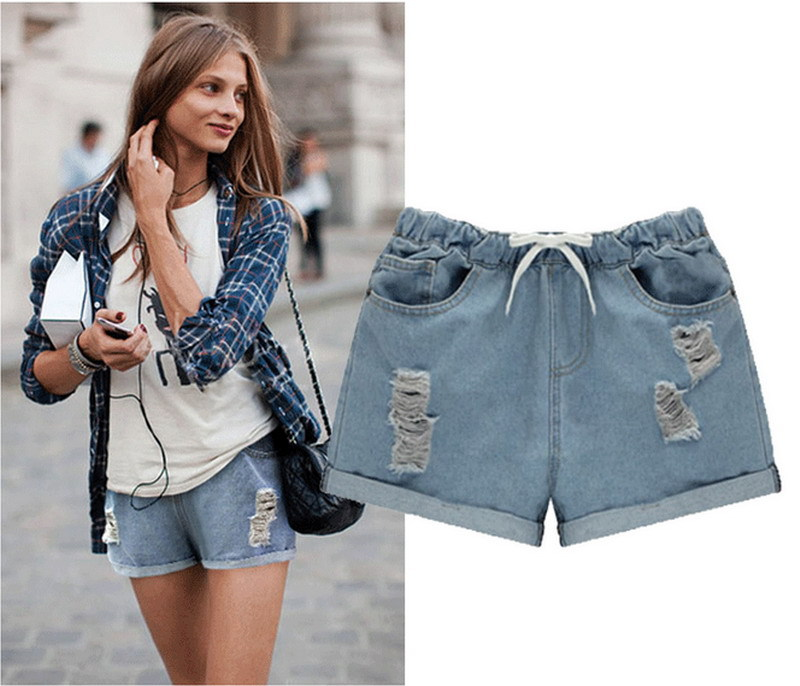 Buy Top fashion ripped jeans shorts for women europeans style ...