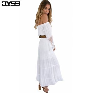 JYSSNew Fashion Women Dress,summer beach style Lace perspective Flare Sleeve Dress Sexy Slash neck white Solid Draped Long Dress