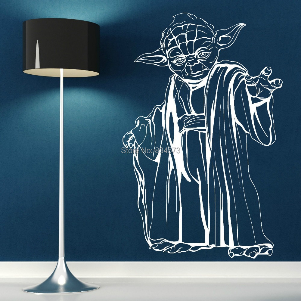 free shipping yoda star wars wall art sticker wall decal diy home decoration wall mural. Black Bedroom Furniture Sets. Home Design Ideas