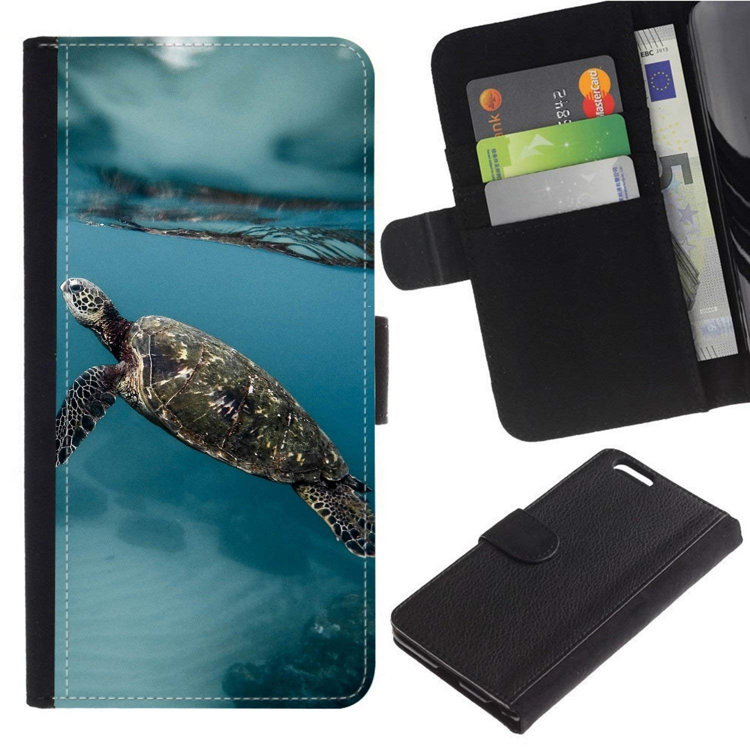 [Sea Turtle] For Moto E5 Play/Moto E5 Cruise, Flip Leather Wallet Holsters Pouch Skin Case