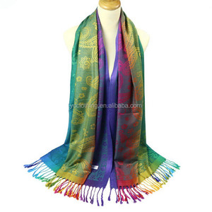 2017 rainbow color jacquard cheap pashmina shawls with tassels wholesale