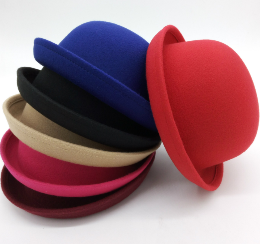 Women Men Lady Wool Felt Fold Brim Bowler Derby Round Top Hat Billycock Cloche Cap