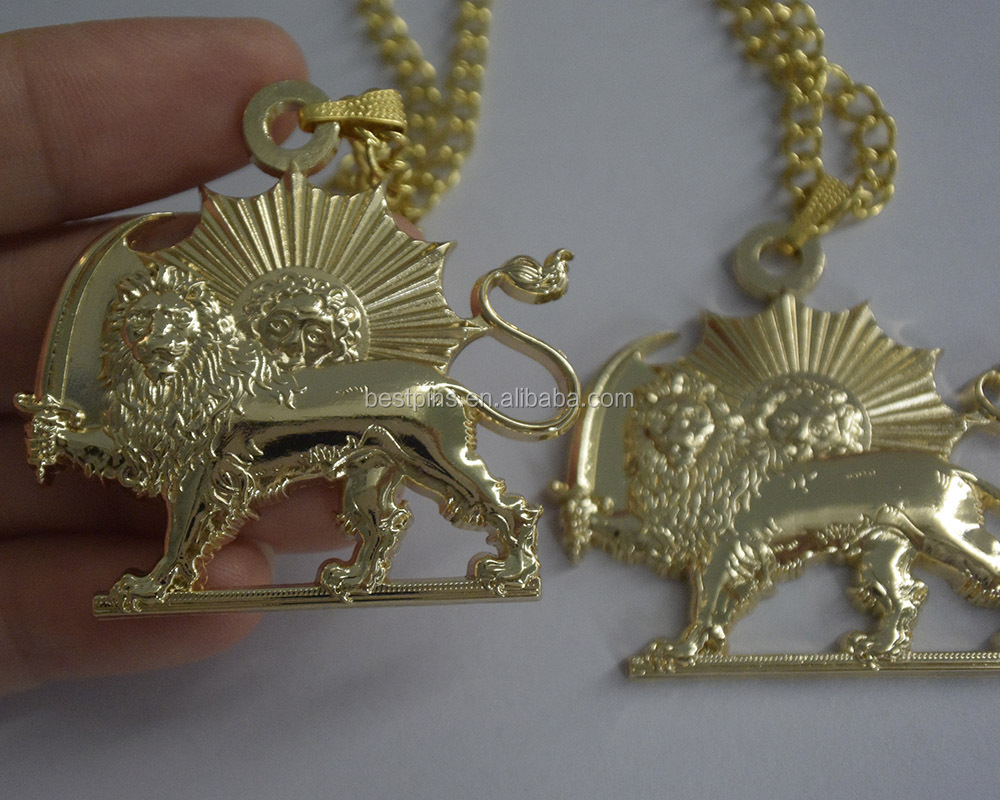 gold 3D cut out zoos animal lion shape metal necklace pendant