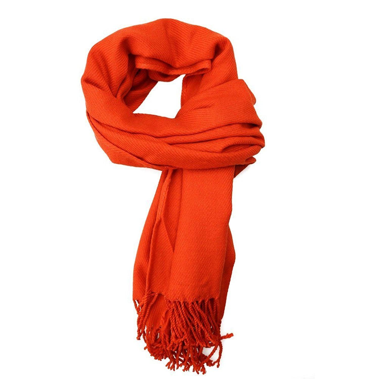 "TOOGOO(R) 70.9""*24.4"" Soft Faux Wool Blends Long Large Pashmina Wraps Scarves Tassel Shawls (Orange)"