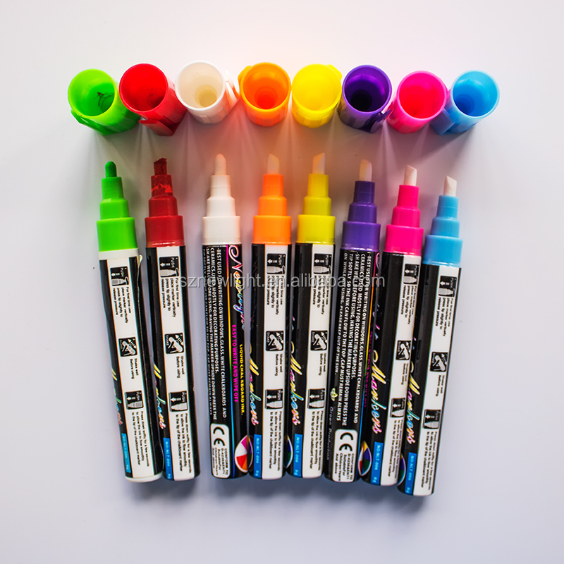 8 Colors Fluorescent Marker Pen/fluorescent liquid chalk for stationery and LED writing board/Highlight marker pen
