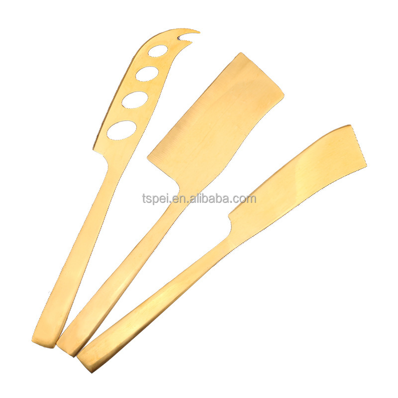 4 piece Stainless Steel Cheese kaas gold yellow Plated Knife Set with steel handle mirror polish surface for home coffee shop