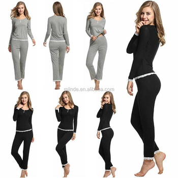 a8afe970a52e Women Underwear Comfort Loungewear Long Sleeve Sleep Wear Cotton  Lightweight Pajama Sets Grey Black Sleepwear Women