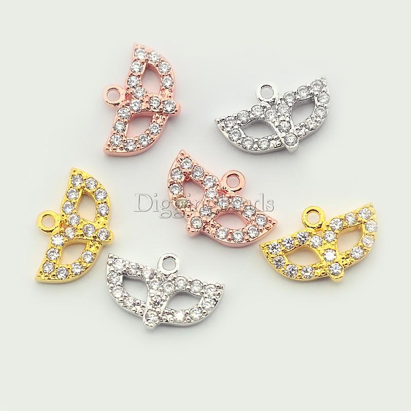 8pcs Mixed Color Mask Brass Micro Pave Cubic Zirconia Pendants about 13mm wide, 19mm long, 2mm thick, hole 1mm
