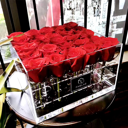 Customized new style square acrylic rose box / transparent flower box for preserved roses