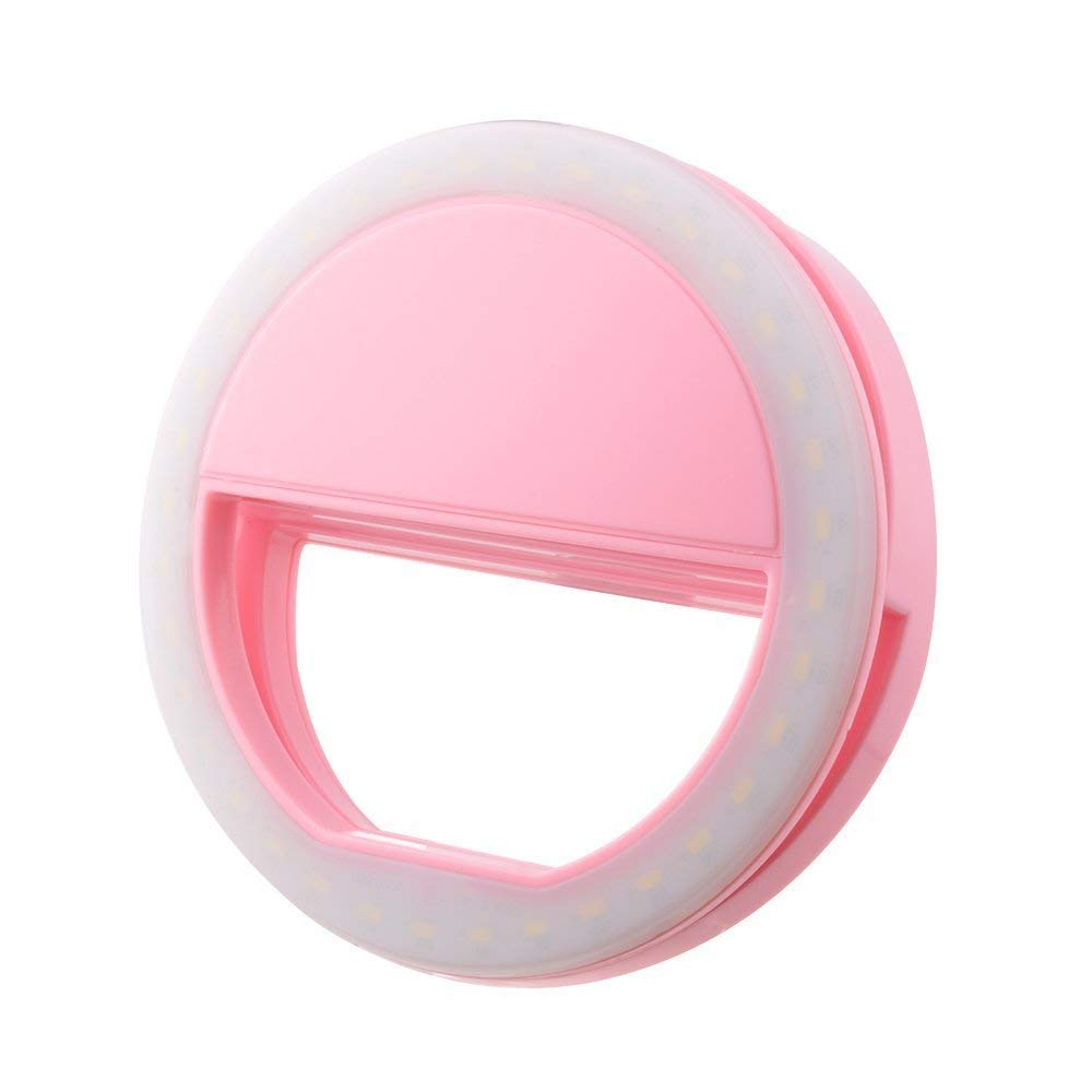 Selfie Light LED Ring Fill Light Supplementary Lighting Camera Photography for Samsung Galaxy S8 iPhone 7 6 6s LG Sony and All Smart Phones (Pink)