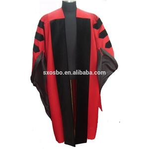 Customized black and red academic doctoral graduation cap and gown