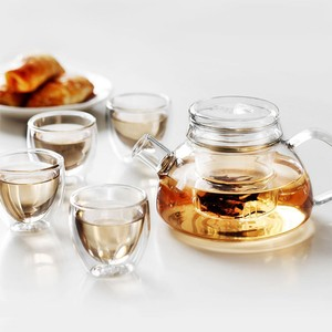 600ml Clear Borosilicate Glass Infuser Tea Pot Set With Glass Strainer Lid