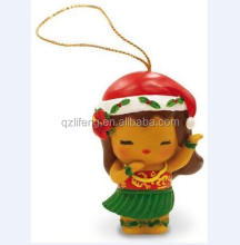 Custom made appeso <span class=keywords><strong>hula</strong></span> girl polyresin ornamenti di natale