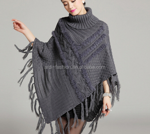 latest ladies women turtlneck cable knit sweater poncho with fur