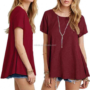Wholesale Vintage Style Plain Women Fitted Blank T-shirts Women's Basic Short Sleeve Scoop Neck Swing Tunic Loose T-shirt