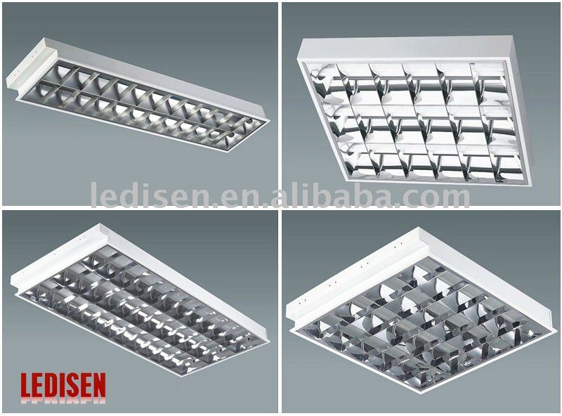 Grille Lamp Fixture 4x18w Fluorescent Ceiling T8 Lighting