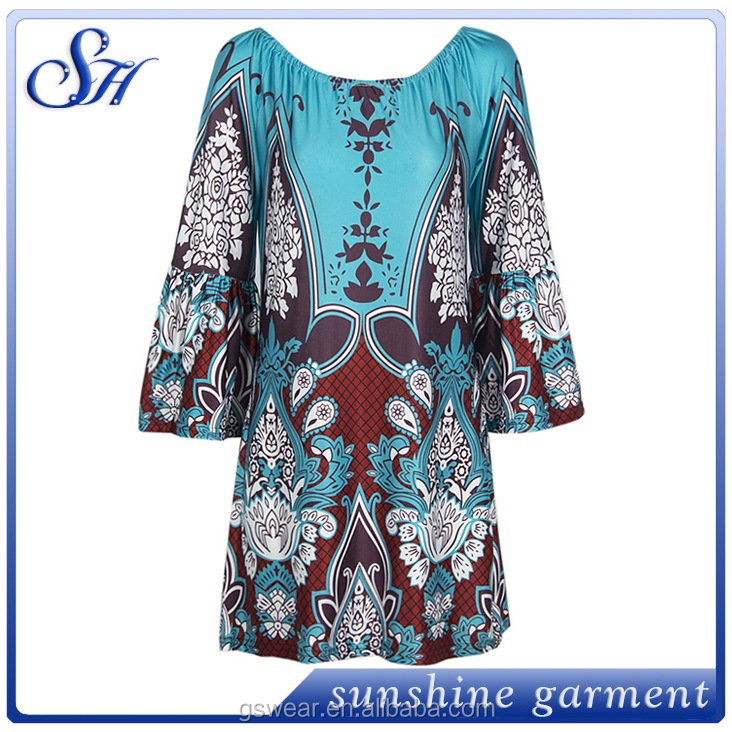 Newest Long Sleeve Sexy printed Patterns Ladies Fashion Dress