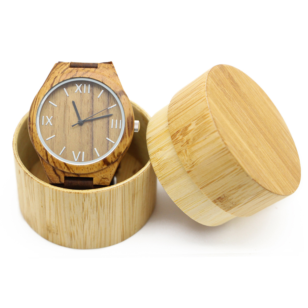 2 Piece MOQ Dropshipping Eco - Friendly FSC With Your Logo Quartz Mechanism Indonesia Bangle Wood Watch With Leather Band, Maple/black/red/green/zebra/bamboo