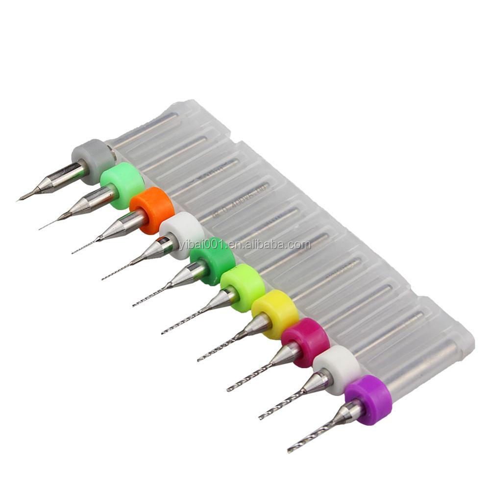 Made in Japan 1.1-2.0mm Union Tool 10pcs Micro PCB Carbide Twist Drill Bits Set