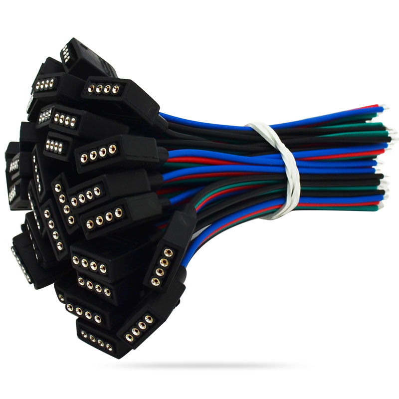 10cm 5050 Strip Connector Cable Line 10mm 4 Pin RGB Flat Cable Female 4 Pin 10mm