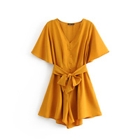 Solid color flare short sleeve high waist women one piece jumpsuit summer playsuit with belt