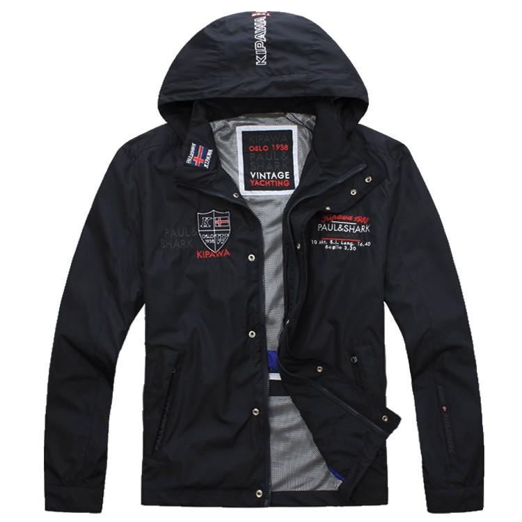 bezahlbarer Preis lebendig und großartig im Stil sale Fall-Herbst jacketfashion männlichen Oberbekleidung Herrenbekleidung  Reißverschlusskragen Kappe embroideryShark Jacke zilli stehen
