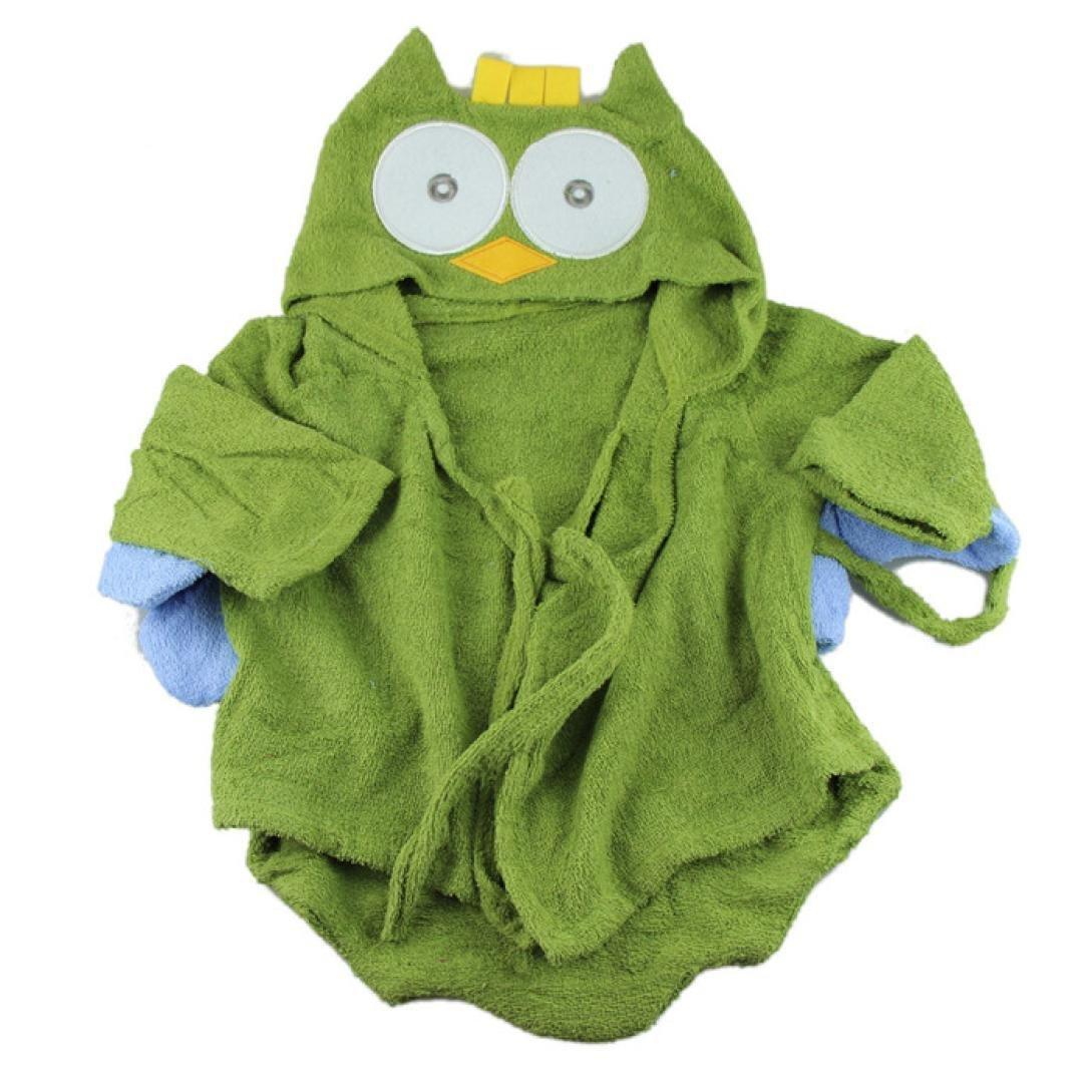 Ikevan Cute Designs Hooded Animal modeling Baby Bathrobe Baby Towel (ArmyGreen)