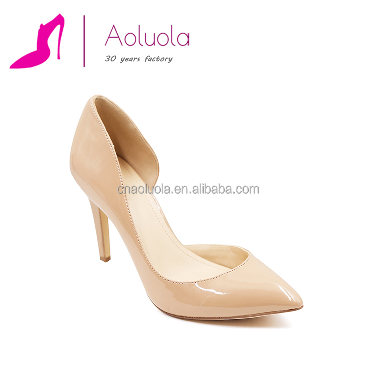 Sexy fancy nude patent leather pointed girls dress shoes