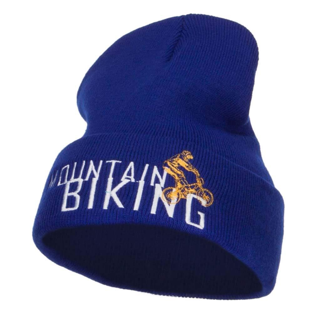 Mountain Biking Embroidered Long Beanie