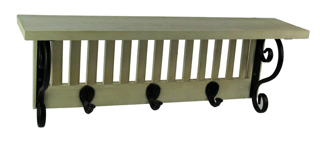 Premier Home Imports Wood Shutter Metal Scroll Decorative Wall Shelf With Hooks Wood & Metal Decorative Wall Hooks Off-White