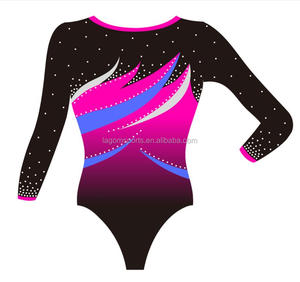 Ombre sublimation mystique girls long sleeved gymnastic leotards
